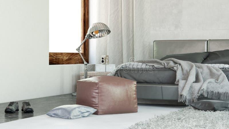Modern comfortabel slaapkamerbinnenland royalty-vrije illustratie