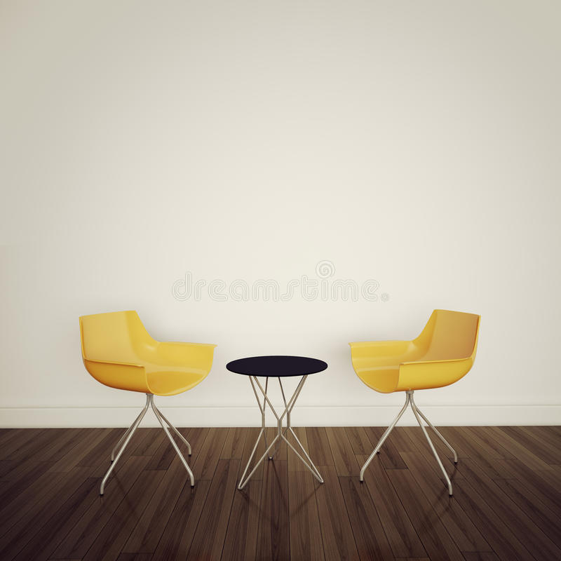 Modern comfortable interior with 3d rendering. Modern comfortable interior, 3d image royalty free illustration