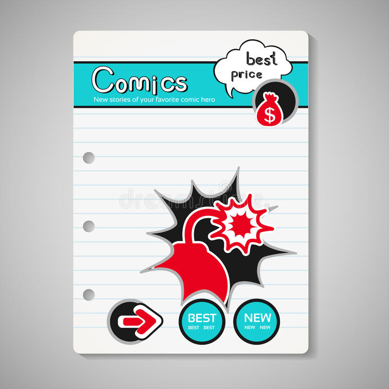 Modern comics book cover, brochure, book, flyer - design template with bubble and blast bomb on lined paper royalty free illustration
