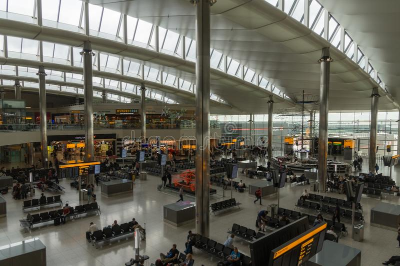 Modern commercial area at Terminal 2 at Heathrow Airport, London, UK royalty free stock photo