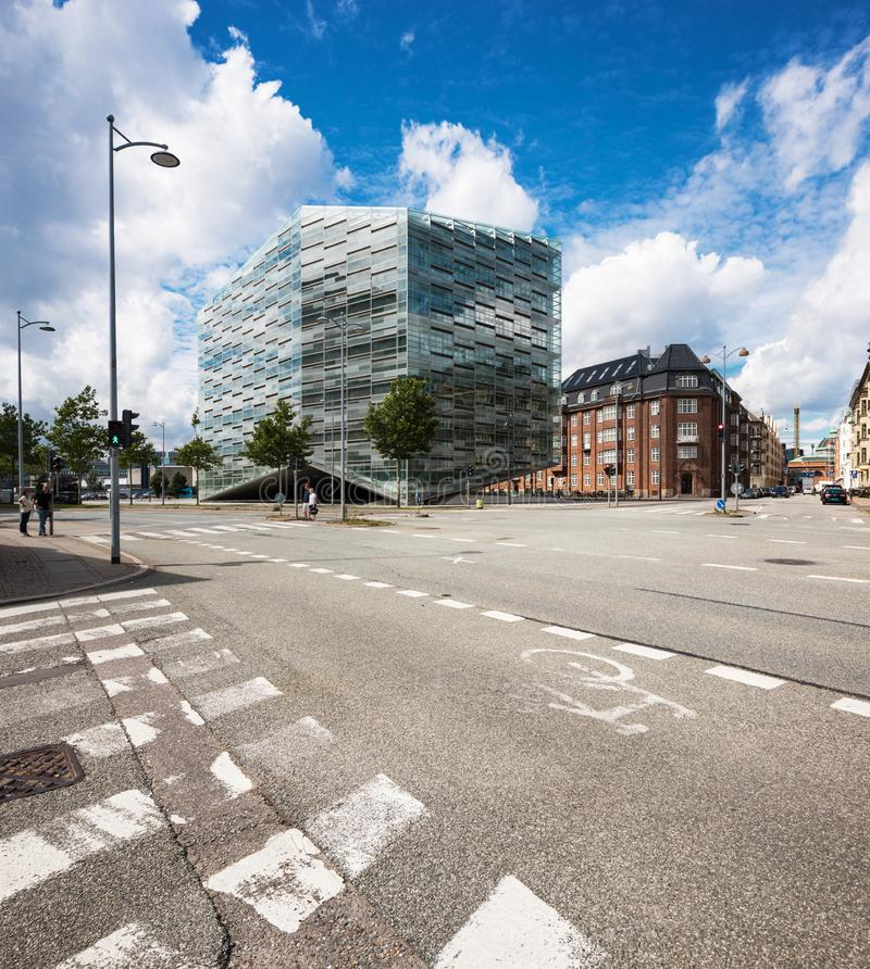 Commercial building in Copenhagen. Blue sky stock images