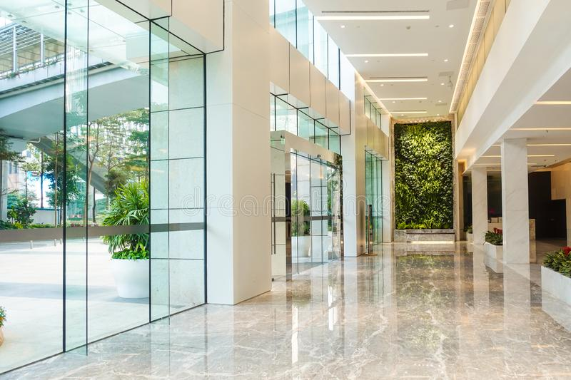 Modern commercial building lobby,office corridor, hotel passageway royalty free stock photography