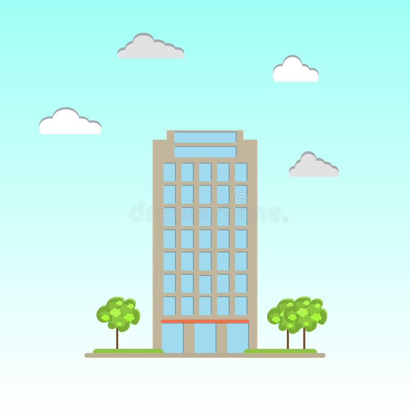 Modern commercial office building. In flat style. Vector illustration stock illustration