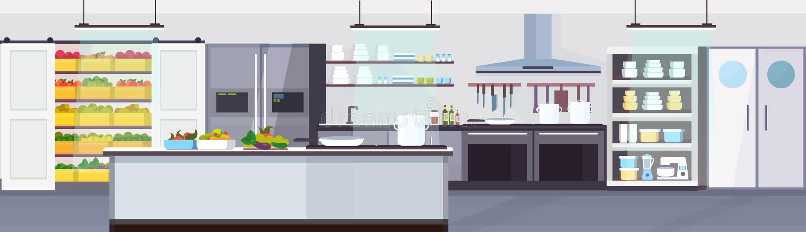 Modern commercial restaurant kitchen interior with healthy food fruits and vegetables cooking and culinary concept empty stock illustration
