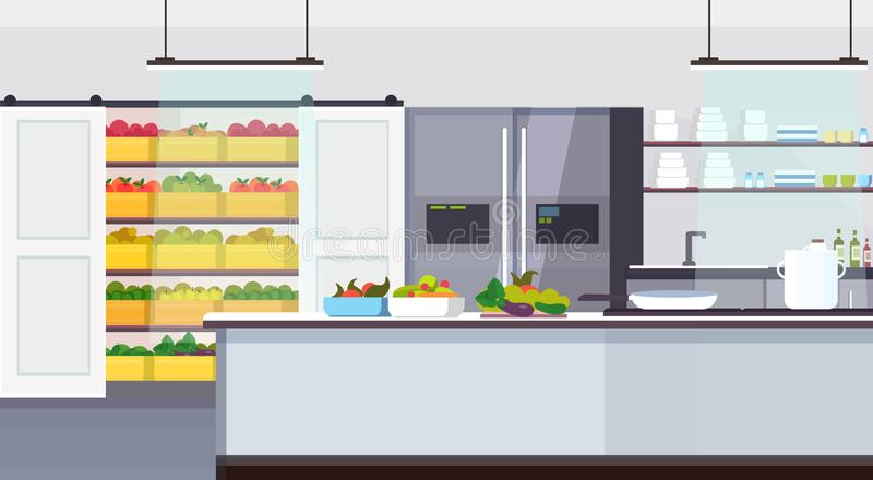 Modern commercial restaurant kitchen interior with healthy food fruits and vegetables cooking and culinary concept empty. No people horizontal flat vector stock illustration