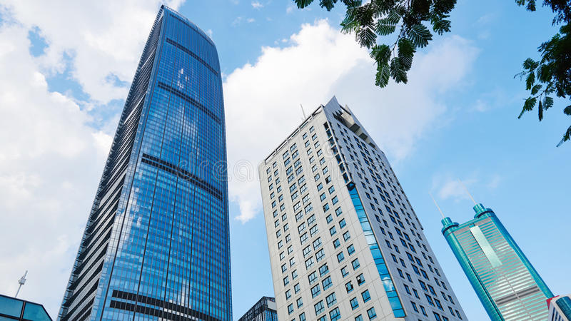 Modern commercial skyscraper. Skyscraper Kingkey finance center plaza ,the modern high commercial building under blue sky, located in Luohu, Shenzhen, special stock photo