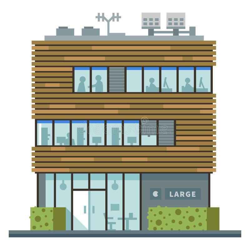 Modern Commercieel centrum Winkels en koffie stock illustratie