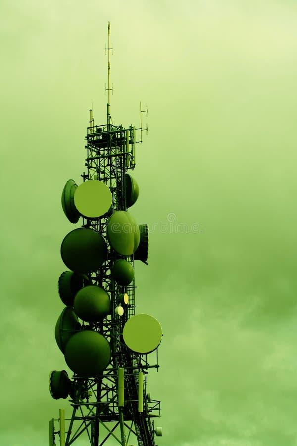 Modern communications tower stock image