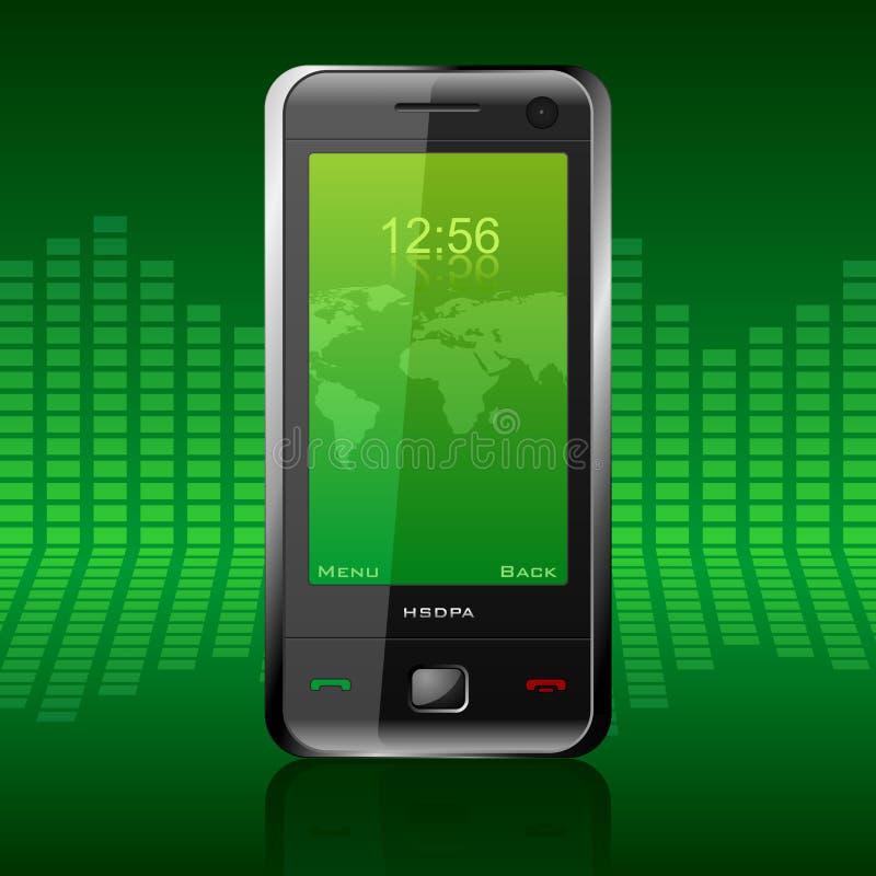 Modern communicator. Vector illustration of modern black stylish glossy communicator with green interface royalty free illustration