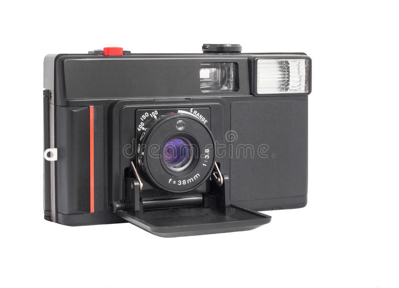 Download Modern Compact Analog Camera On Film 35mm Format Isolated On A White Background Stock Photo - Image of classic, film: 48822128