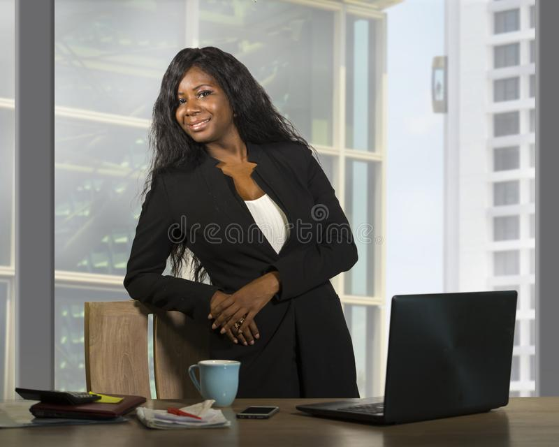 Business portrait of young happy attractive black african american businesswoman smiling confident standing successful at financi. Modern company corporate royalty free stock photography