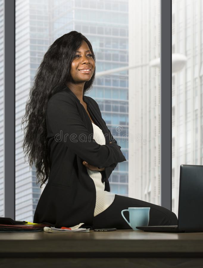Modern company corporate portrait of young happy and attractive black african american business woman smiling confident and succes stock images