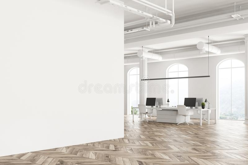 Arched window white office interior blank wall stock illustration