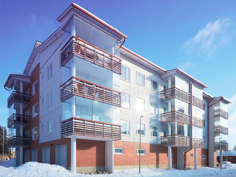 Modern complex of apartment buildings winter stock photos