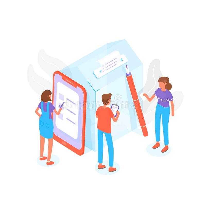 Modern composition with people standing beside giant ballot box at polling station and voting or taking part in. Modern composition with people standing beside royalty free illustration
