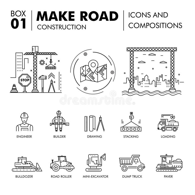 Modern compositions building road construction thin line block f royalty free illustration