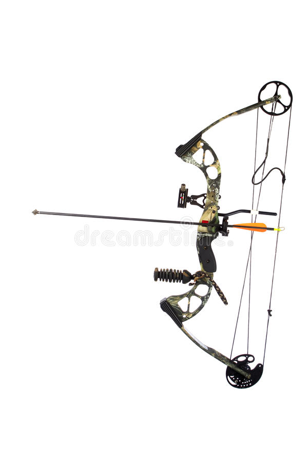 Modern compound bow and arrow isolated stock image