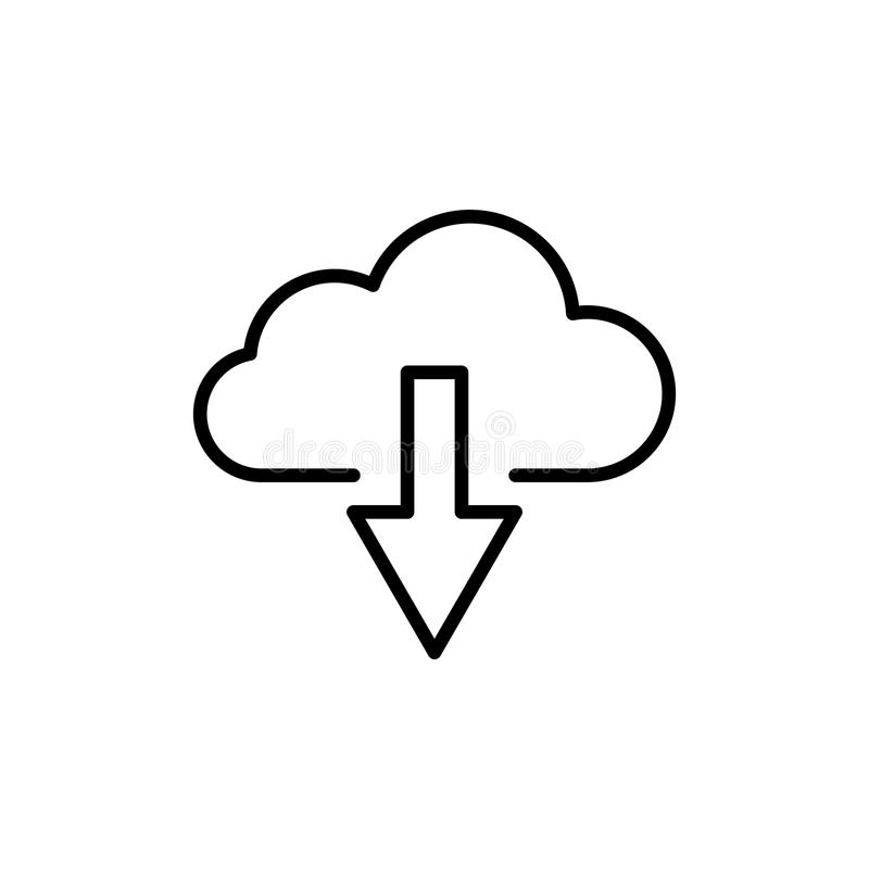 Modern computer cloud line icon. Premium pictogram isolated on a white background. Vector illustration. Stroke high quality symbol. Cloud icon in modern line royalty free illustration