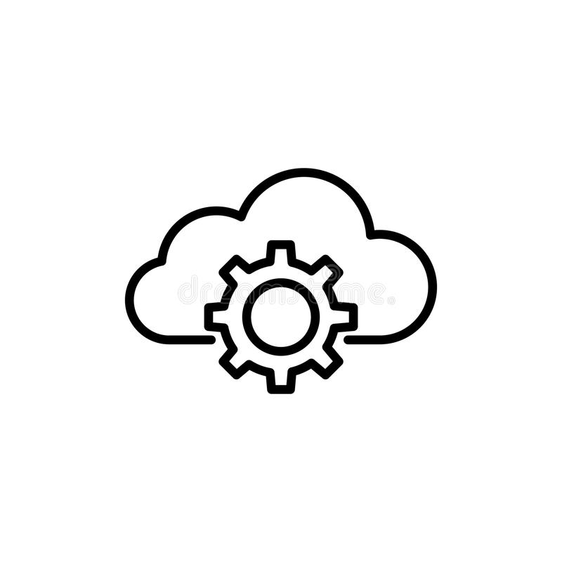 Modern computer cloud line icon. Premium pictogram isolated on a white background. Vector illustration. Stroke high quality symbol. Cloud icon in modern line royalty free stock photography