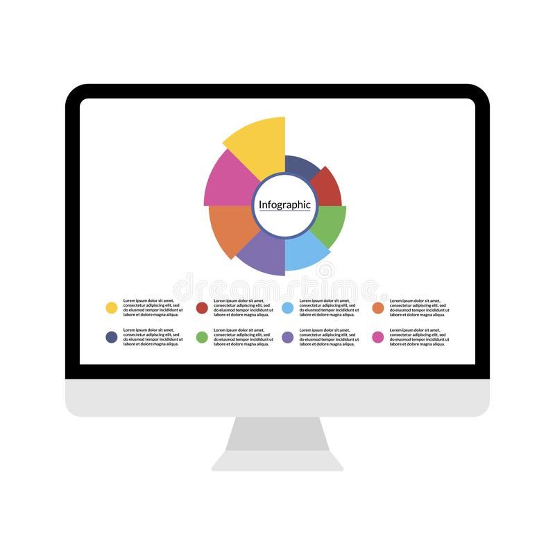 Modern computer display with Infographic diagram data visualization template with 8 options steps and place for text. For chart, report, banner, workflow royalty free illustration
