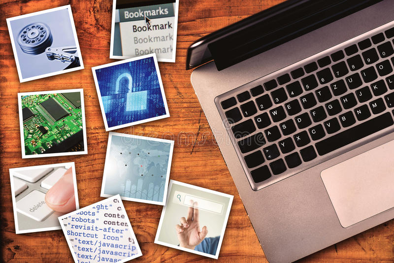 Modern computer information technology photo collage. Stack of tech and internet themed polaroid pictures on wooden office desk with copy space stock image