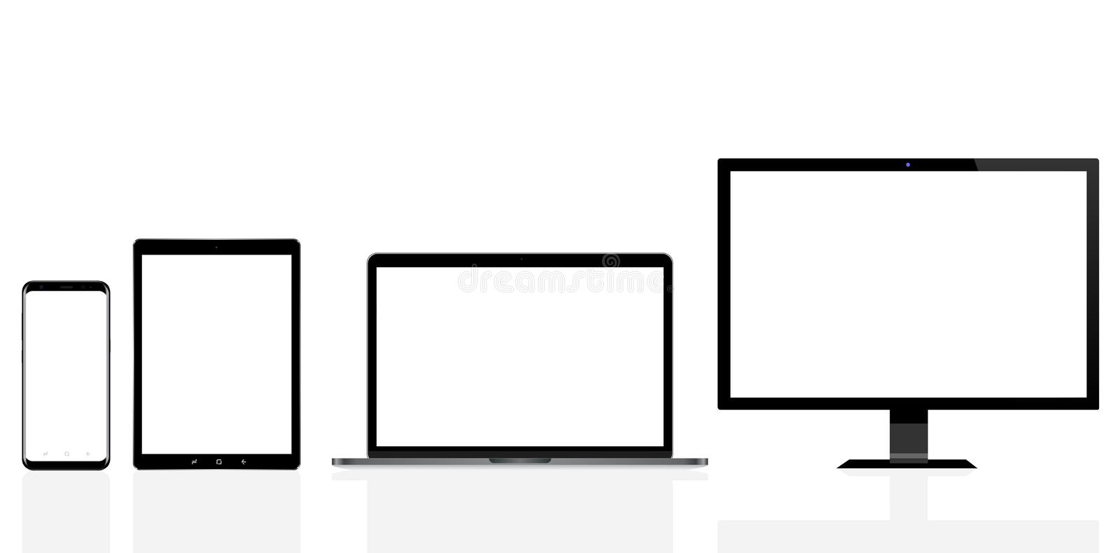 Modern computer, laptop, mobile phone and digital tablet pc royalty free illustration