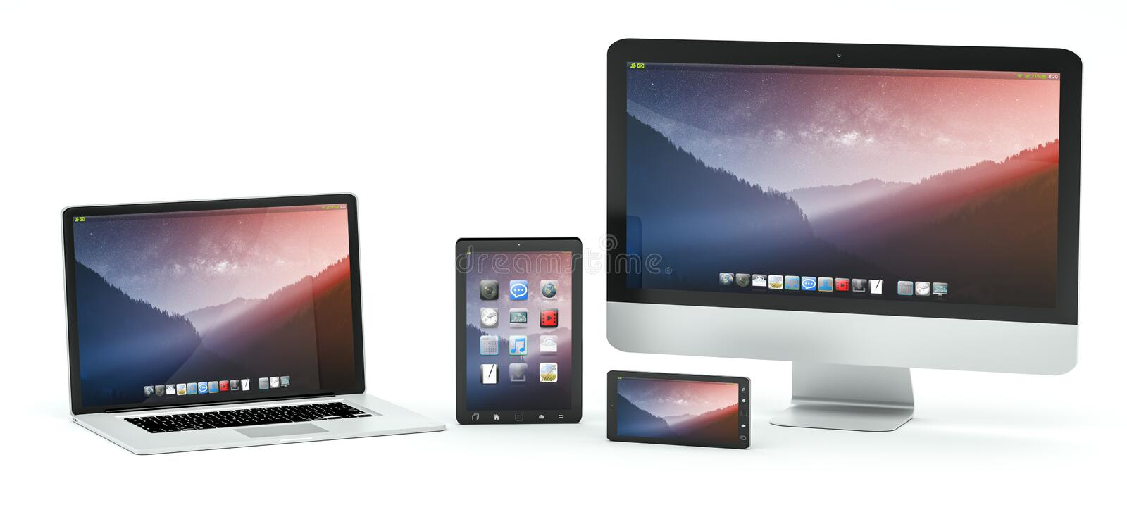 Modern computer laptop mobile phone and tablet 3D rendering. Modern computer laptop mobile phone and tablet on white background 3D rendering stock illustration