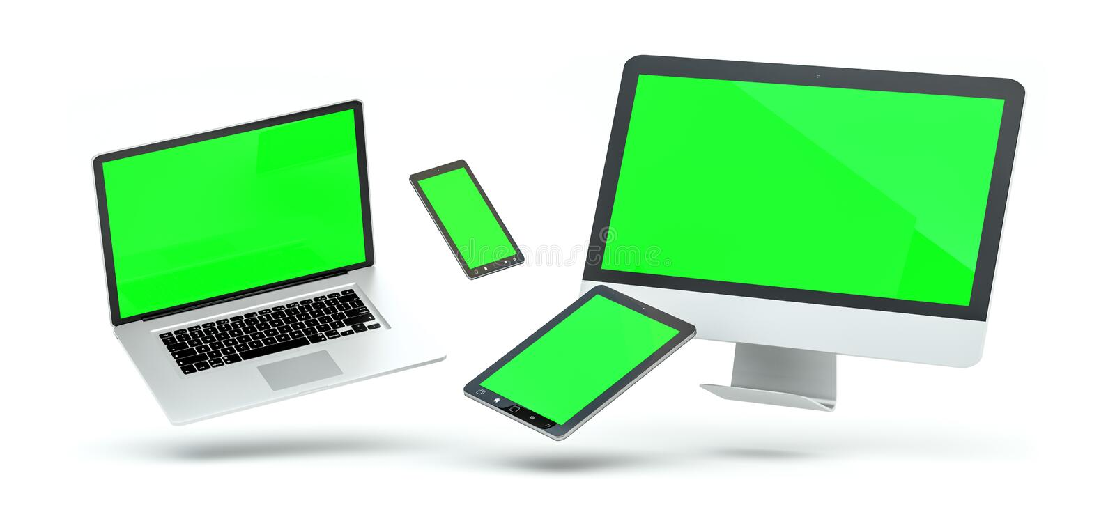 Modern computer laptop mobile phone and tablet floating 3D rendering. Modern computer laptop mobile phone and tablet floating over white background 3D rendering royalty free illustration