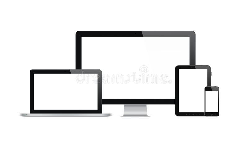 Modern computer and mobile devices vector illustration