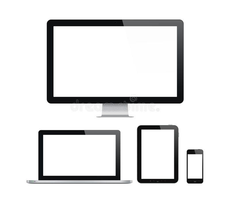 Modern computer and mobile devices set. High quality illustration set of modern computer monitor, laptop, digital tablet and mobile phone with blank screen vector illustration