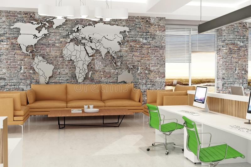 Modern computer office open space interior with world map and brick walls. 3d rendering stock illustration