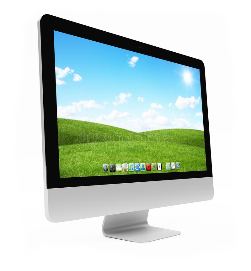 Modern computer screen on white background 3D rendering royalty free illustration