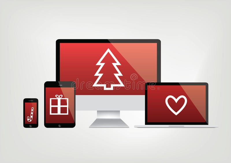 Modern computer screens, notebook, phone, laptop displays - red. Screen with christmas icons - vector graphic vector illustration