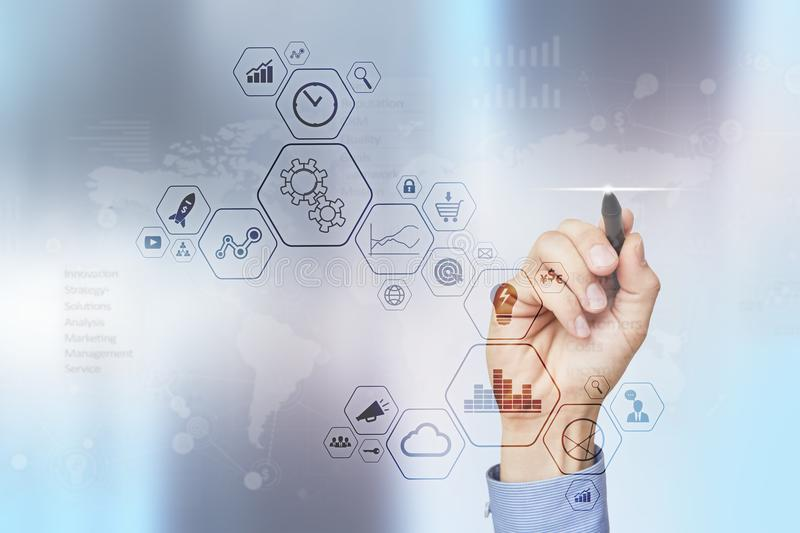Modern computer virtual screen. Business technology and internet concept. IOT. stock photography