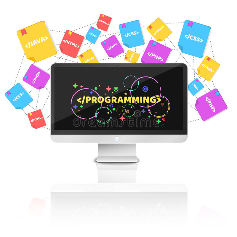 Modern computer on a white background. Mirror reflection. Multicolored pattern of characters. Programming in design. Programming l stock illustration