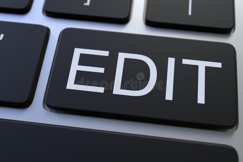 Modern computertoetsenbord met EDIT knoop het 3d teruggeven stock afbeelding