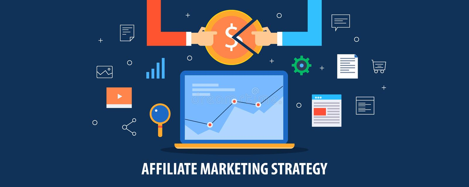Affiliate marketing strategy, business partnership, profit sharing, increase sales concept. Flat design vector banner. royalty free illustration