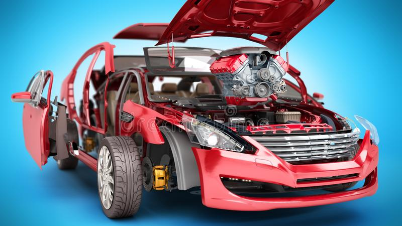 Modern concept of auto repair work Details of the red car on a b. Lue background vector illustration