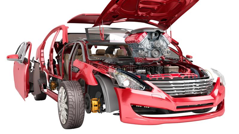 Modern concept of auto repair work Details of the red car on a w stock illustration