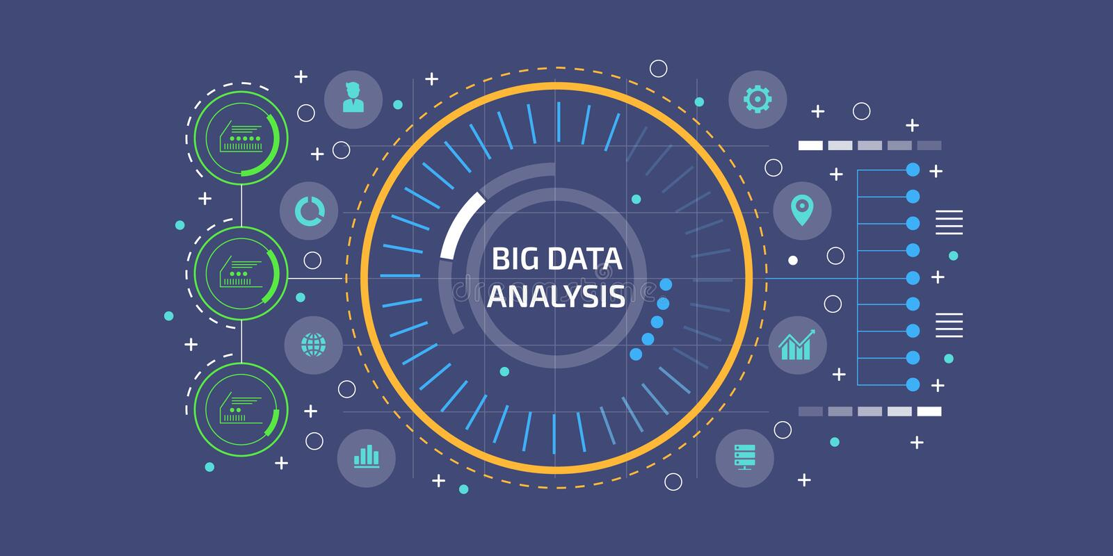 Big data, analysis, research, machine learning, algorithm, business information concept. Flat design vector banner. vector illustration