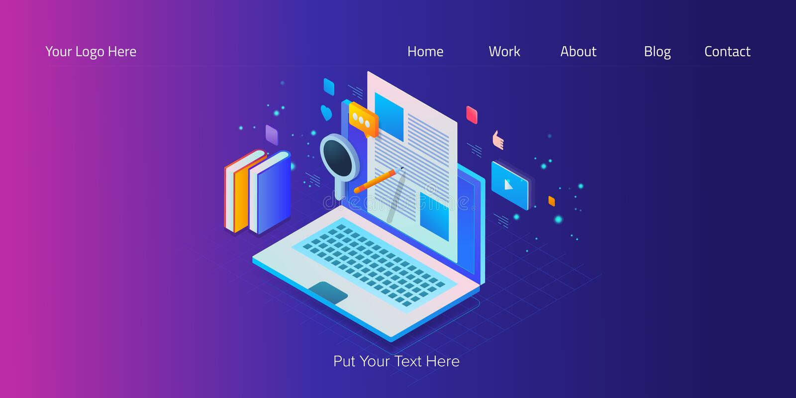 Isometric design, web banner template of content marketing, blogging, social media engagement, seo writing with text. stock illustration
