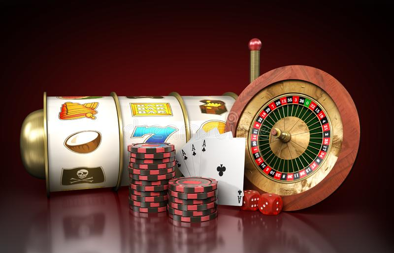 Modern concept of the casino logo roulette is surrounded by play. Ing props 3d render on darck royalty free illustration