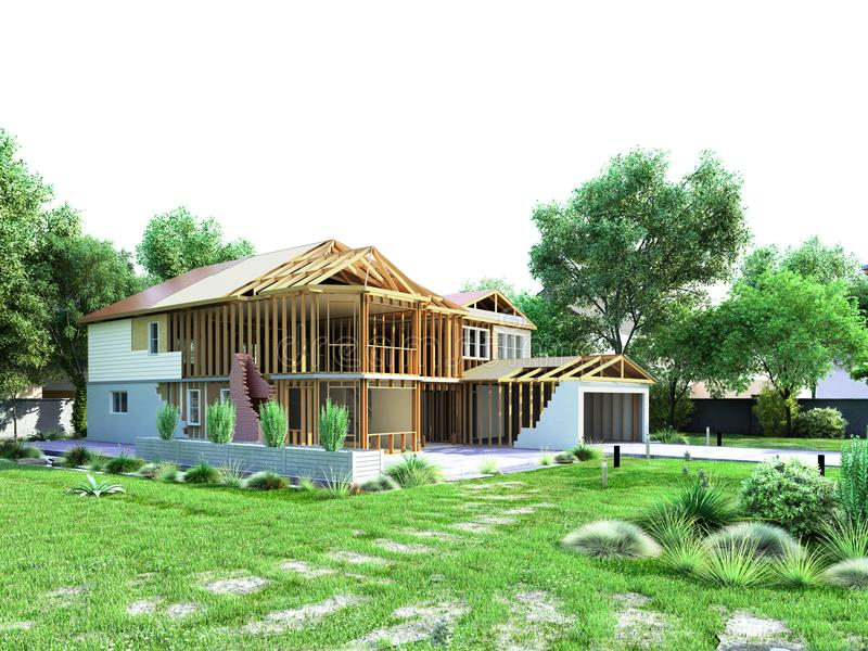 modern concept of construction works the house is assembled by p royalty free stock photography