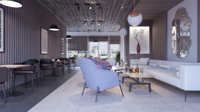 Modern concept design of restaurant lounge bar 3d render stock illustration
