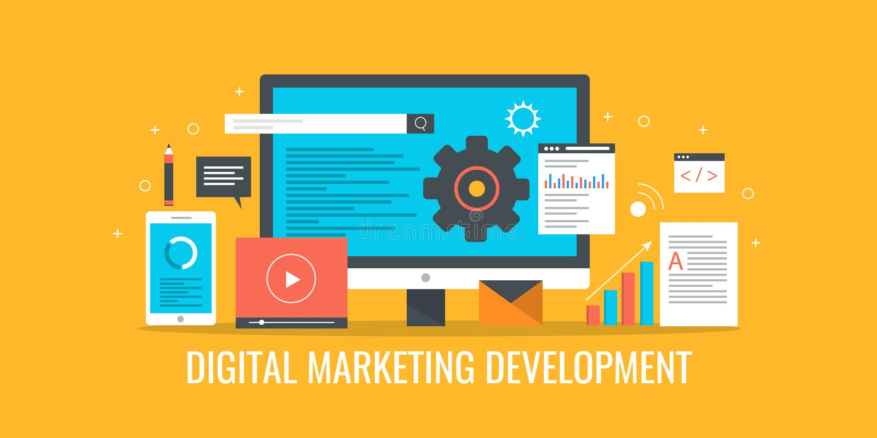 Digital marketing, marketing strategy development, seo, sem, video, email communication concept. Flat design vector banner. vector illustration