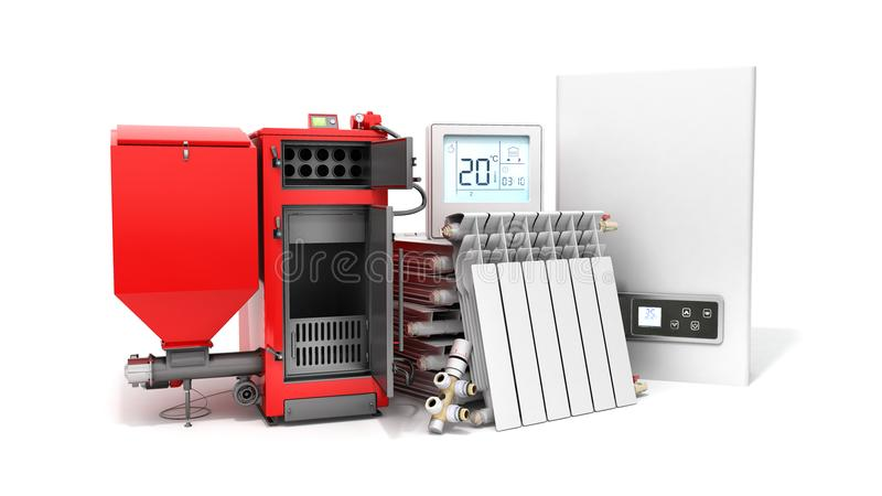 Modern concept heating saving solid fuel boiler battery electric royalty free illustration