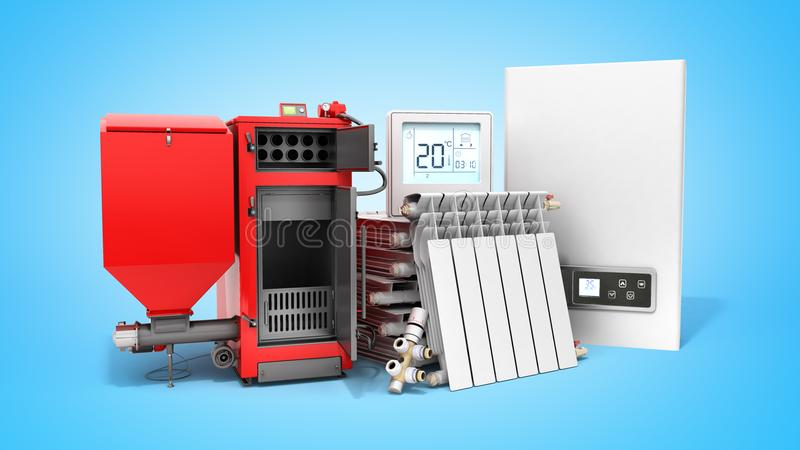Modern concept heating saving solid fuel boiler battery electric stock illustration