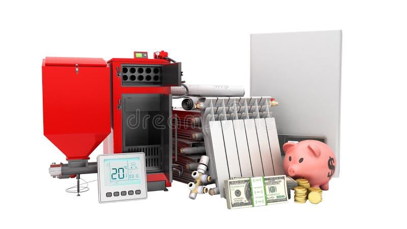 Modern concept heating saving solid fuel boiler battery electric vector illustration