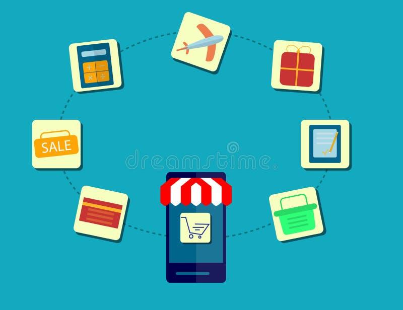 Modern Concept het Kopen van Product via Internet, Mobiele het Winkelen Mededeling en de Leveringsdienst Vlak Ontwerp royalty-vrije illustratie