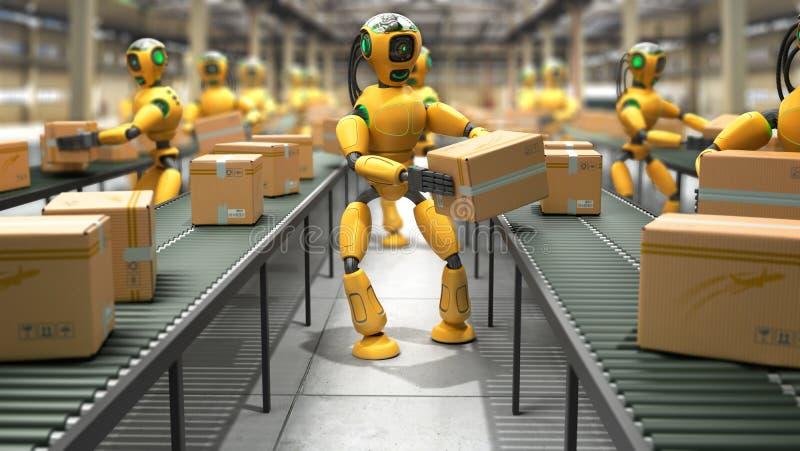 Modern concept het nauwkeurige geautomatiseerde sorteren in productie of del stock illustratie